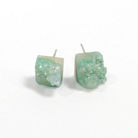 Mint Quartz Chunk Earrings