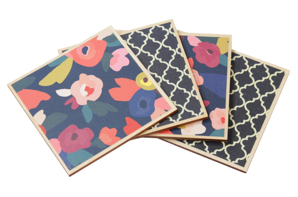 Navy Floral Coaster Set