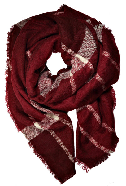 Cranberry Plaid Blanket Scarf