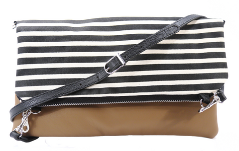 Striped Foldover Bag