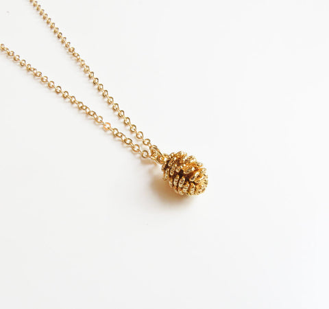 Gold Pine Cone Necklace