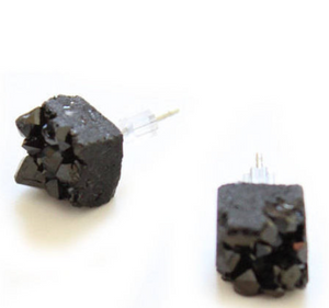 Black Quartz Chunk Earrings