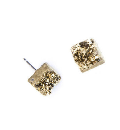 Gold Quartz Chunk Earrings