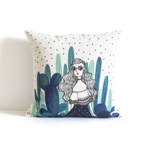 Cactus Girl Pillow Cover