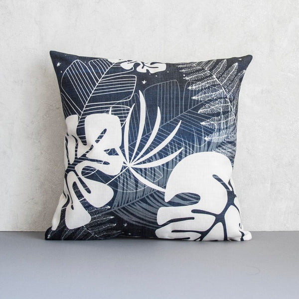 Navy Leaf Pillow Cover