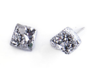 Silver Quartz Chunk Earrings