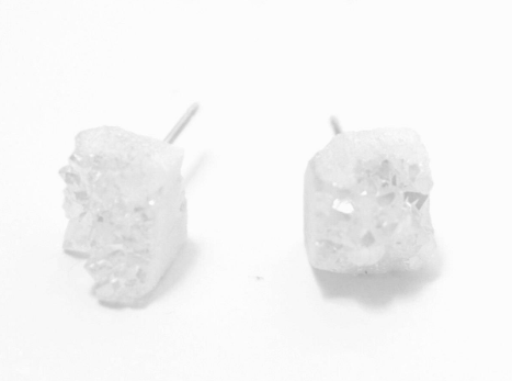 White Quartz Chunk Earrings