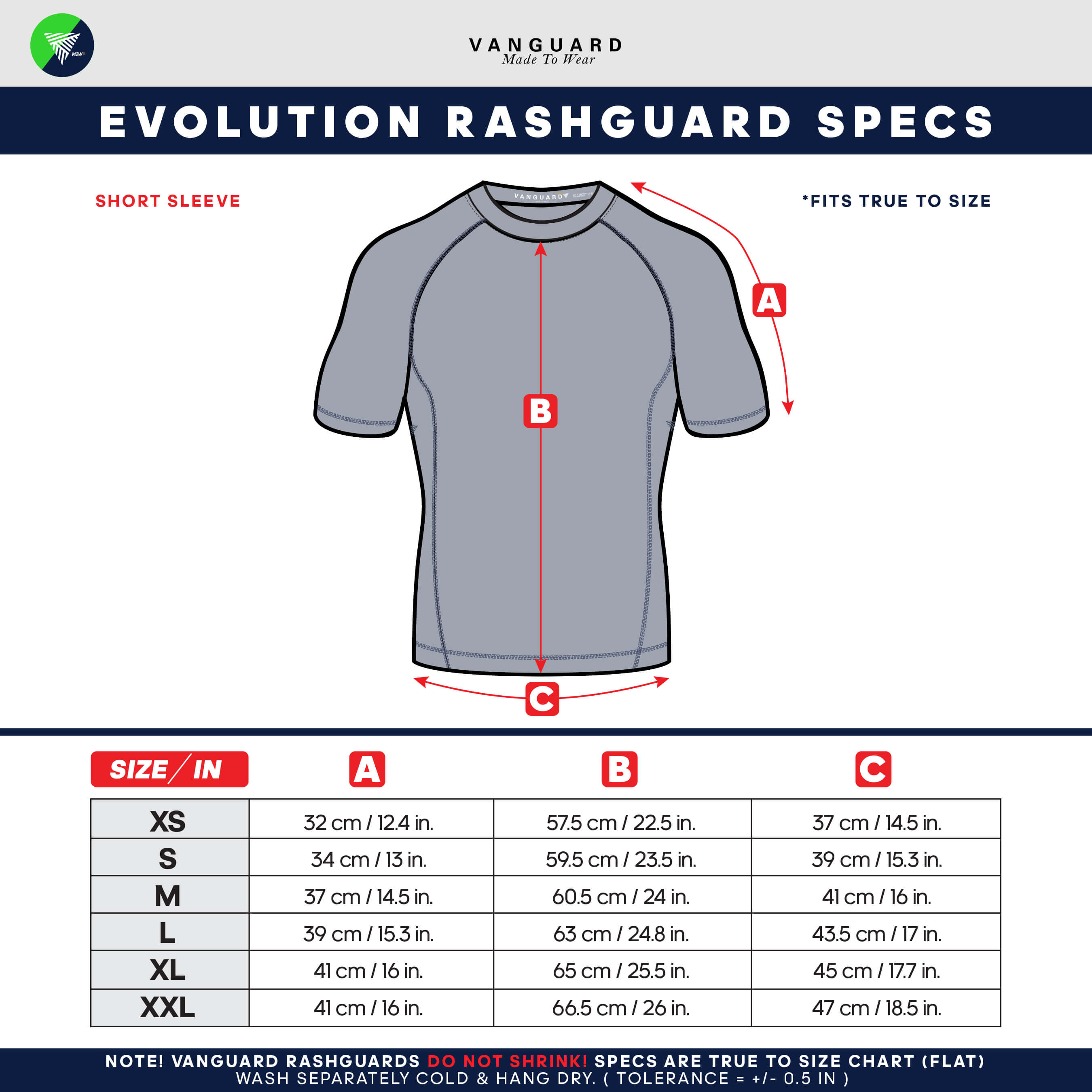 Evolution Short Sleeve Rashguard Size Chart