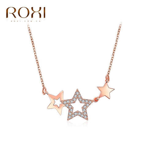 Necklace Pendant  Rose Gold Color Five pointed - mem8store