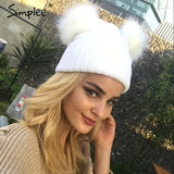 Winter hat  fur pompom knitted hat cap Women elegant autumn white
