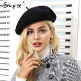 Winter elegant wool beret Women casual streetwear warm beret hat
