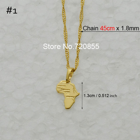 Map of Africa Pendant Necklace Chain African Map - mem8store