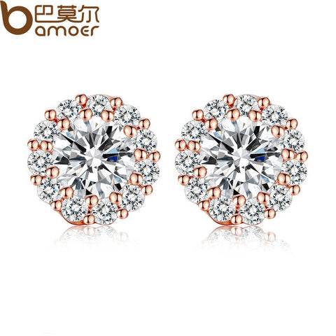 Crystals Stud Earrings with  Zircon  Jewelry - mem8store