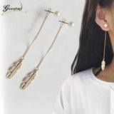 Pearl Leaf Feather Drop Earrings For Women - mem8store