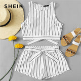 SHEIN Vertical Striped Crop Top And Self Belt Shorts Set Women Round Neck Sleeveless Backless Button Women Boho 2 Piece Sets - mem8store