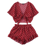 SHEIN Burgundy Polka Dot Knot Top And Ruffle Hem Shorts Set 2018 Summer Women Deep V Neck Short Sleeve Vacation - mem8store