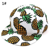 Pineapple Print Snapback Baseball Cap Adjustable Wide Brim Hip-hop