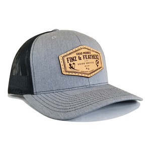 Heather Grey/ Black Leather Icon Hat