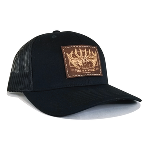 Black Leather Bugle Hat