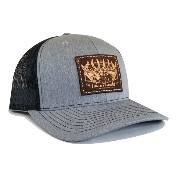Heather Grey/ Black Leather Bugle Hat