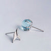 Mermaid Tail Asymmetrical Stud Earrings  · Sterling Silver & Blue Crystal