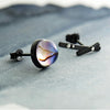 Milky Way Stud Earrings  · Sterling Silver with Magical Stripe Crystal Star