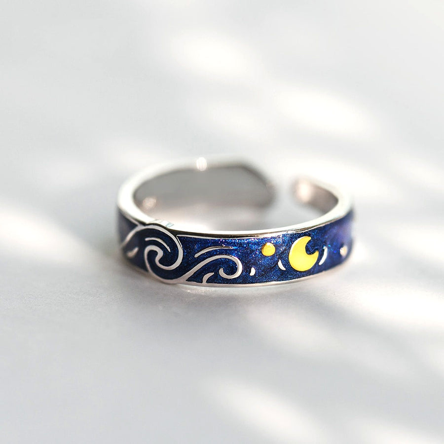 Van Gogh's Starry Night Ring · Sterling Silver with Cloisonne Enamel
