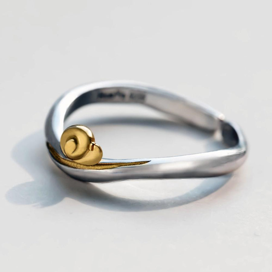 Golden Snail Handmade Ring  · Sterling Silver with Gold Plating
