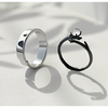 Moonlight Forest Couple Rings  · Sterling Silver & Moonstone