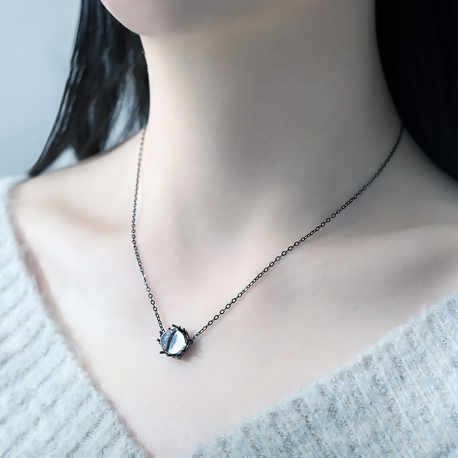 Moonlight Forest Necklace · Black Plated Sterling Silver with Natural White Crystal