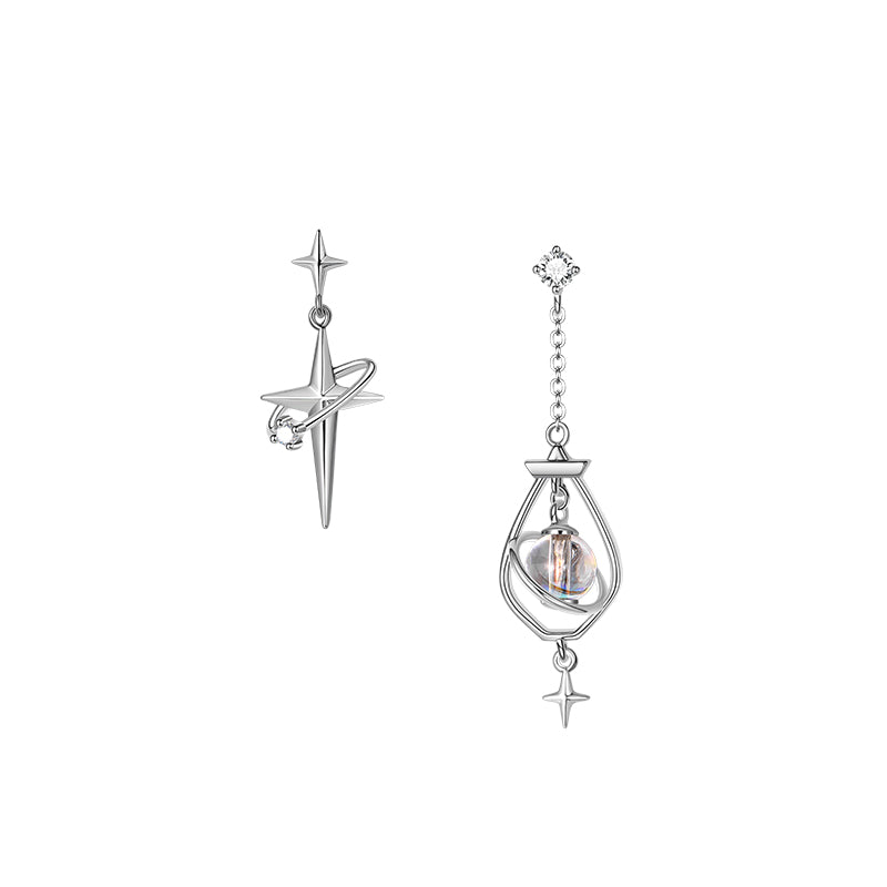 Northstar Asymmetrical Stud Earrings · 18K Plated Gold with Zircons and Crystal