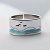 Seagulls and the Sea Couple Rings · Sterling Silver