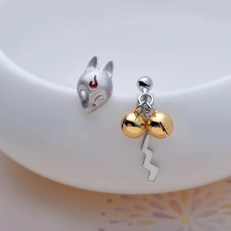 Fox Mask Handmade Asymmetrical Stud Earrings · Sterling Silver with Gold Plating