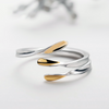Asymmetrical Golden Opening Ring  ·  Sterling Silver & Gold Plating