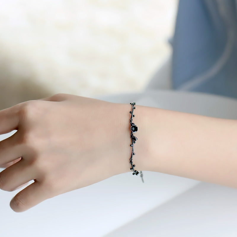 Dark Flower Bracelet • Black Plated Sterling Silver