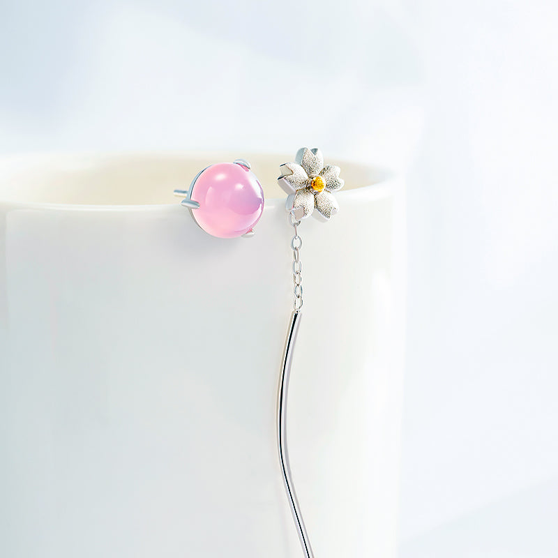 Flower in a Mirror Asymmetrical Earrings · Sterling Silver & Pink Chalcedony