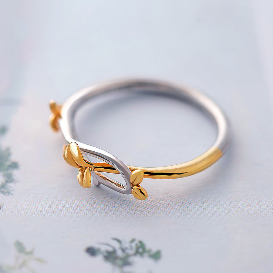 Golden Bud Ring  · Sterling Silver with Gold Plating Details