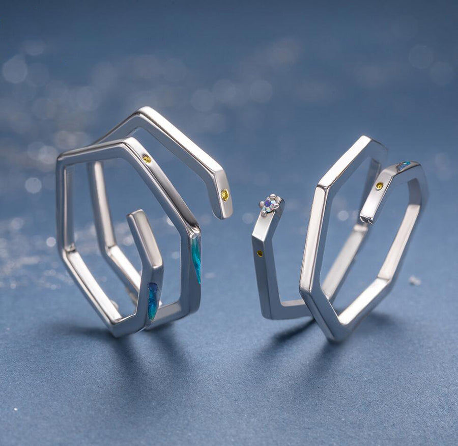 Nebula Geometric Shape Couple Rings · Sterling Silver with Zircons