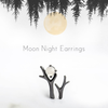 Moonlight Forest Stud Earrings · Black Sterling Silver with Moonstone