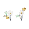 Sun Flowers Clip Earrings · Sterling Silver with Pearl Shell, Zircons and Artificial Opal