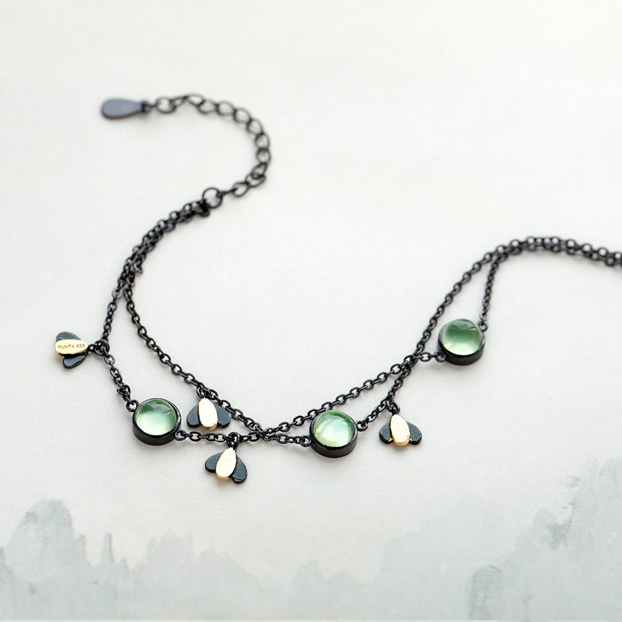 Firefly Bracelet  · Black Plated Sterling Silver with Green Crystal Gemstone