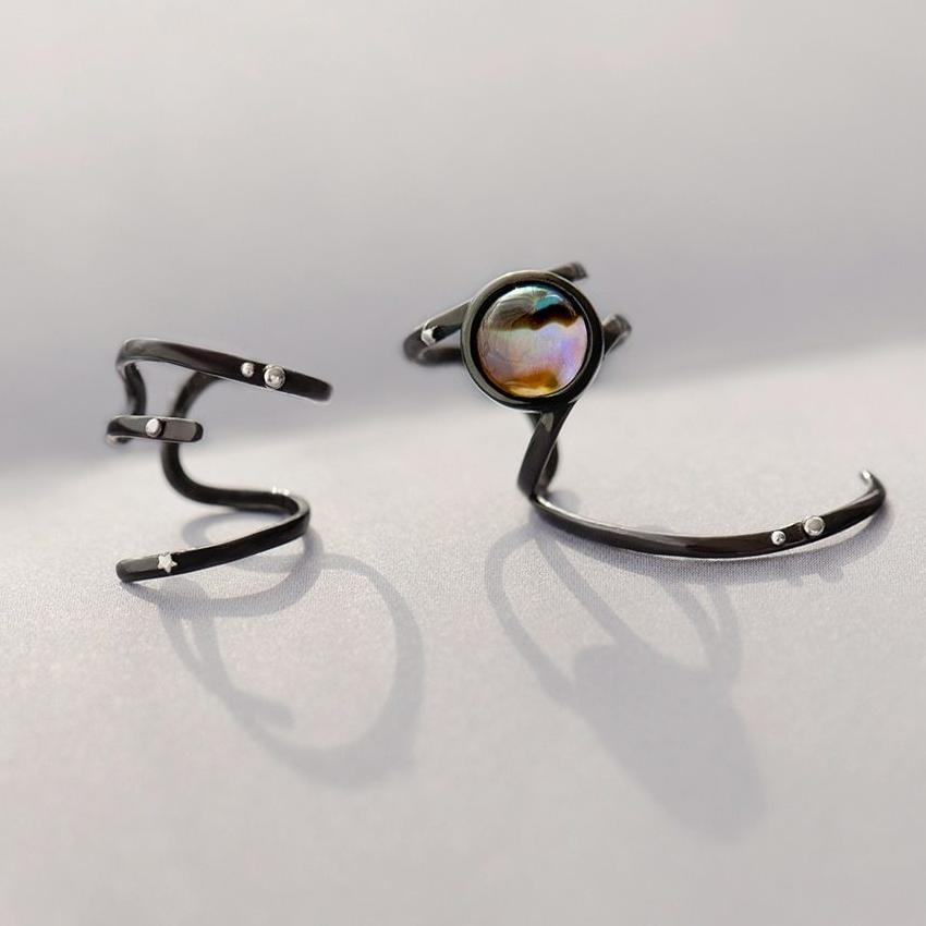 Milky Way Asymmetrical Clip Earrings  · Black Plated Sterling Silver with Crystal Stone