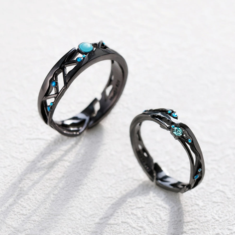Milky Way Rings  · Black Plated Sterling Silver with Bright Blue Cubic Zircon