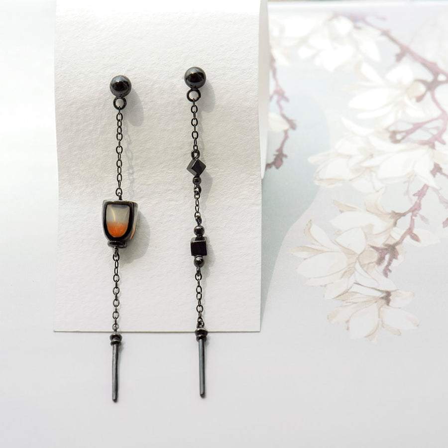 Sky Lantern Asymmetrical Dangle Earrings  · Black Plated Sterling Silver