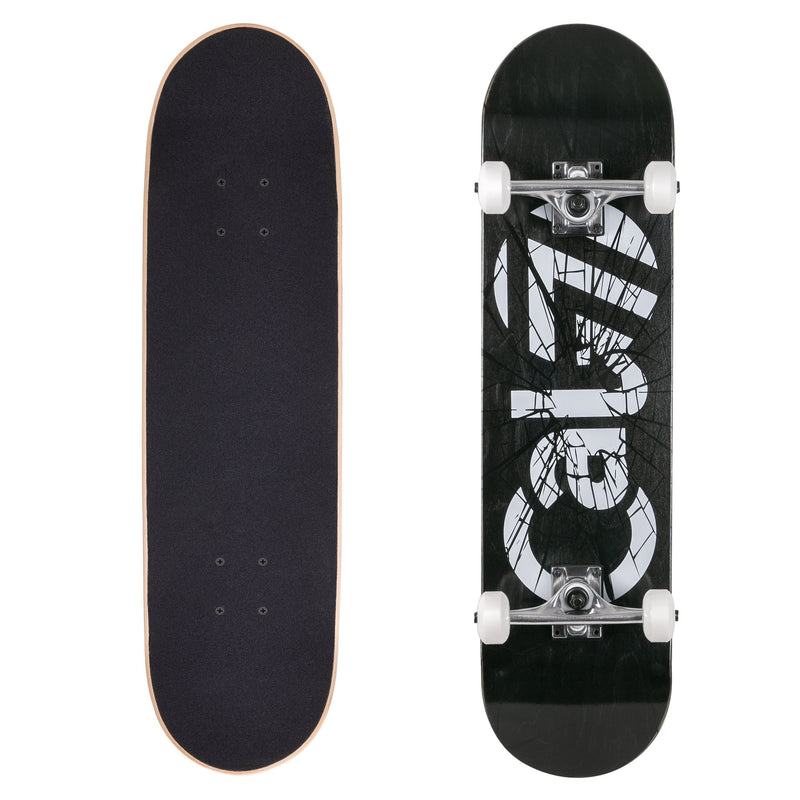 Cal 7 complete 8-inch Heist skateboard with black deck and glass shattered graphic