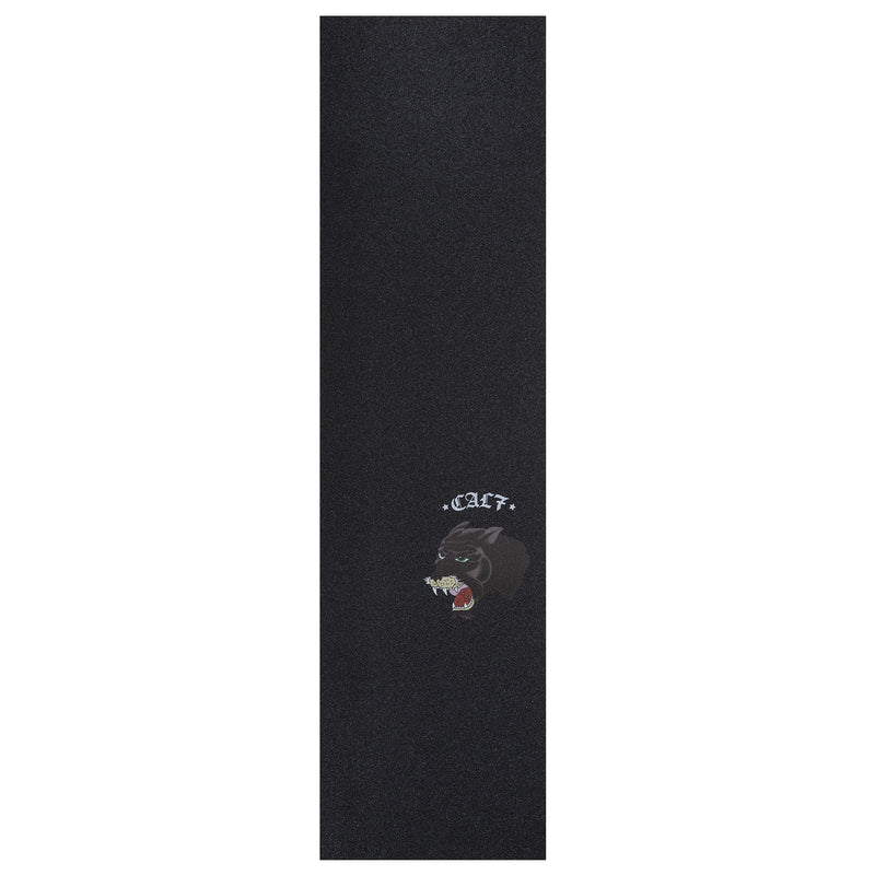 Cal 7 black skateboard griptape with panther design