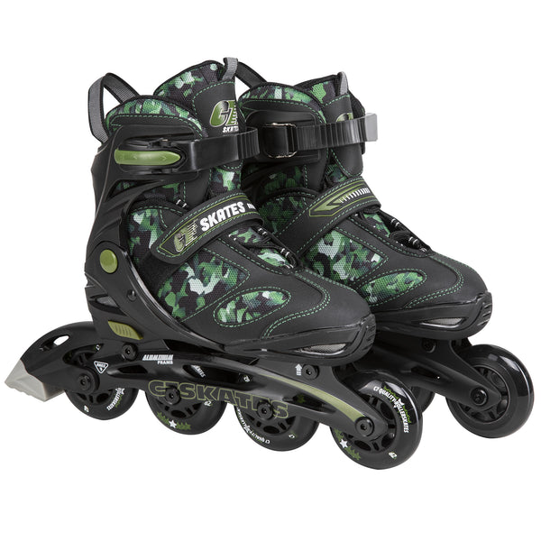 C7skates Youths Adjustable Inline Skates Camouflage Green