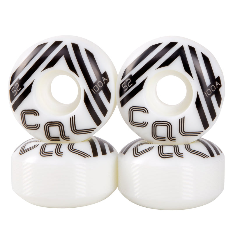 Cal 7 Catch-22 Skateboard Wheels, 52mm & 100A, Black & White Design (Retro)