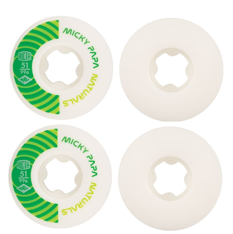 RICTA Skateboard Wheels Micky Papa Pro 51mm Naturals 99a 4 Pack