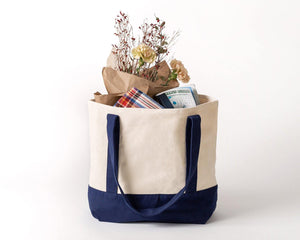 DELUXE CANVAS TOTE BAG | NAVY - Planet E